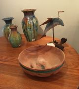 Uwharrie Crystalline Pottery, Wood carving and bowl